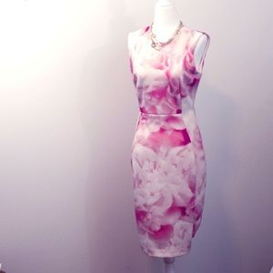 Karl Lagerfeld Paris Pink Floral Sheath Dress